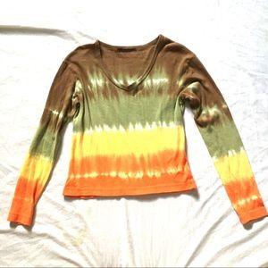 Long Sleeve Waist Length Tie Dye Crop Top SzM $10